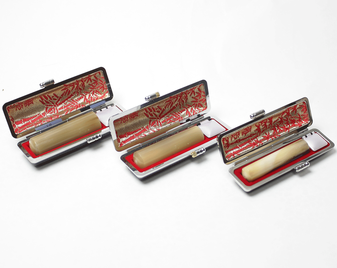 個人印鑑3本セット オランダ水牛(寸胴) 専用ケース付き