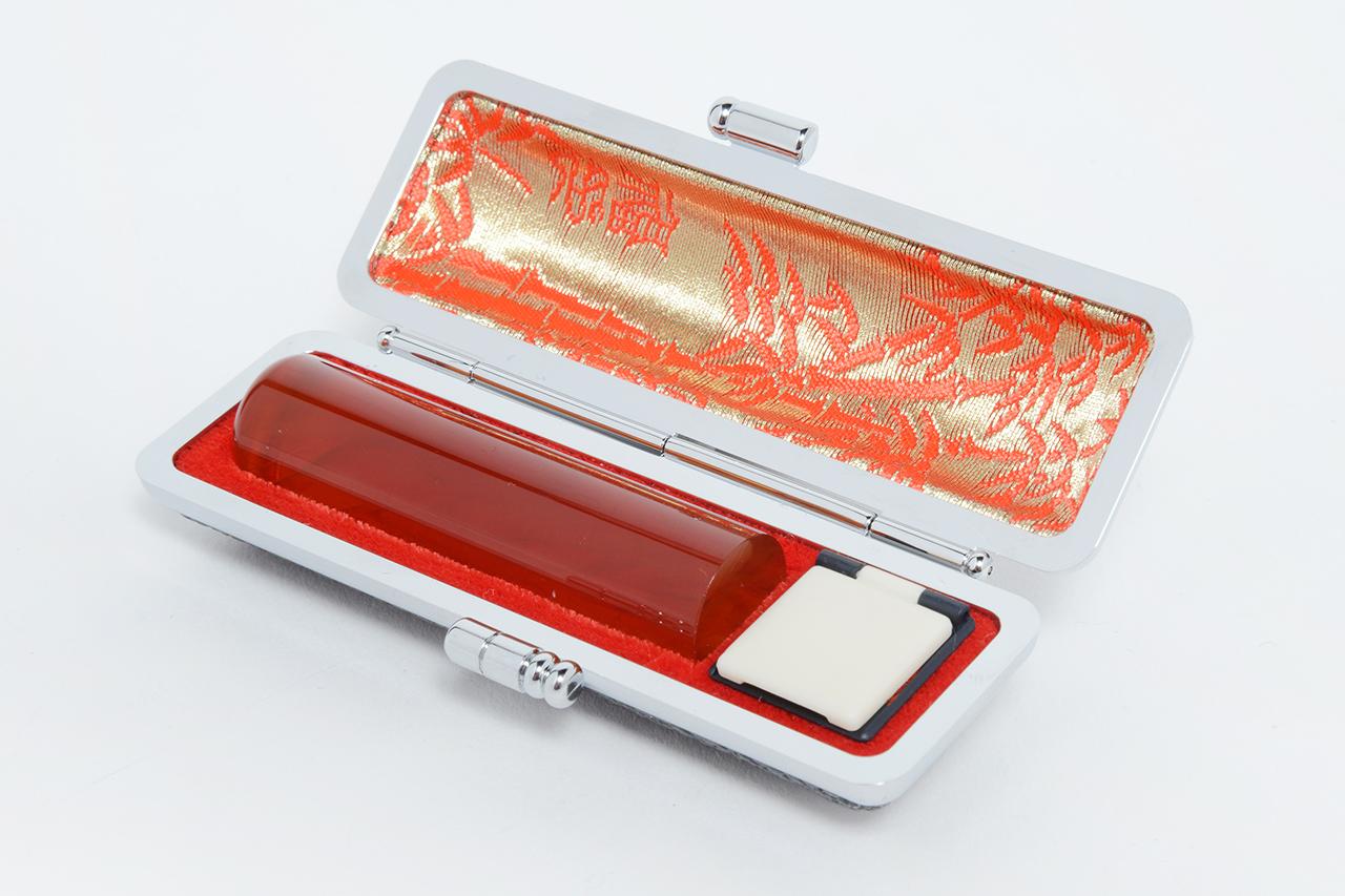 個人銀行印 琥珀(寸胴) 13.5mm モミ革ケース付き